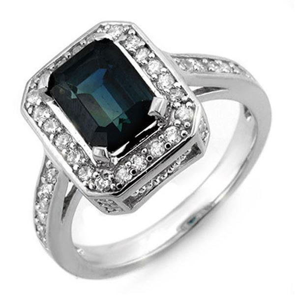 3.0 ctw Blue Sapphire & Diamond Ring 18k White Gold - REF-89N3F