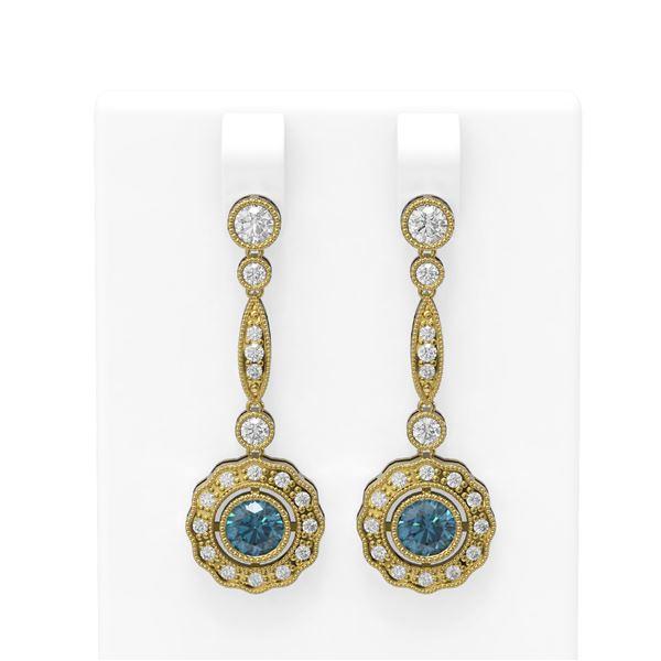 2.19 ctw Intense Blue Diamond Earrings 18K Yellow Gold - REF-222X2A