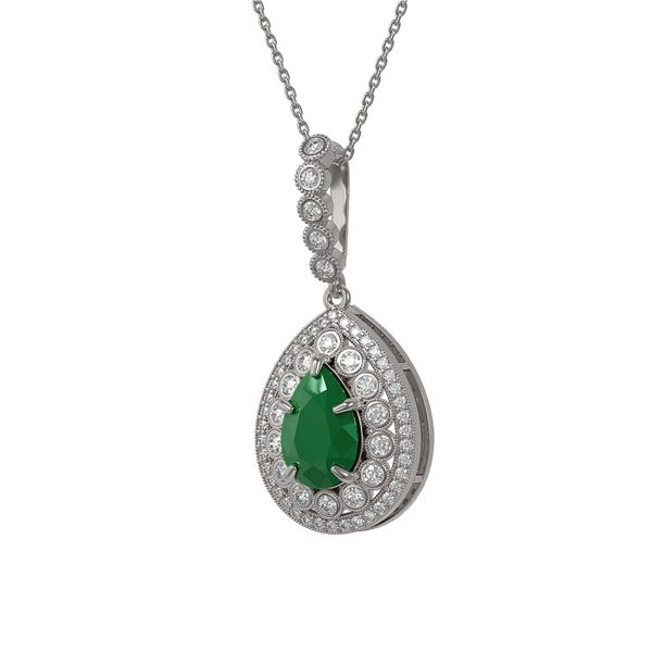 4.97 ctw Certified Emerald & Diamond Victorian Necklace 14K White Gold - REF-178A2N