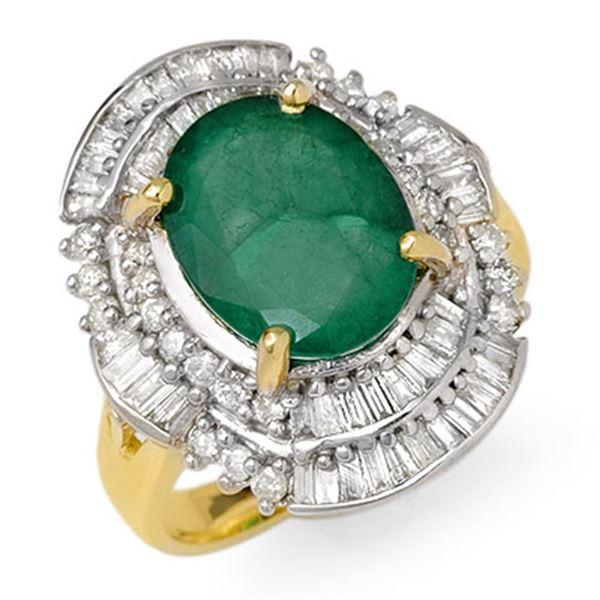 5.95 ctw Emerald & Diamond Ring 14k Yellow Gold - REF-118X4A