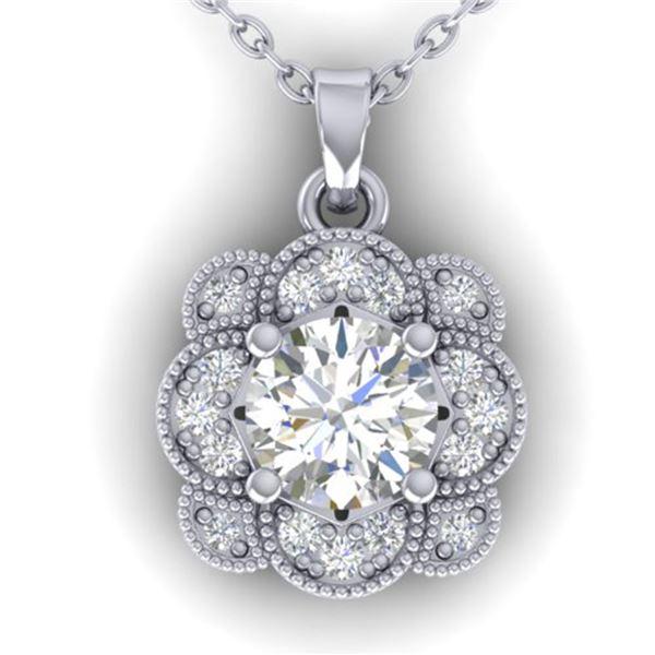 0.75 ctw VS/SI Diamond Art Deco Necklace 14k White Gold - REF-104F8M