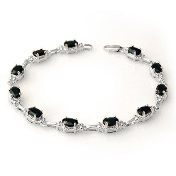 7.33 ctw Blue Sapphire Bracelet 14k White Gold - REF-49H3R
