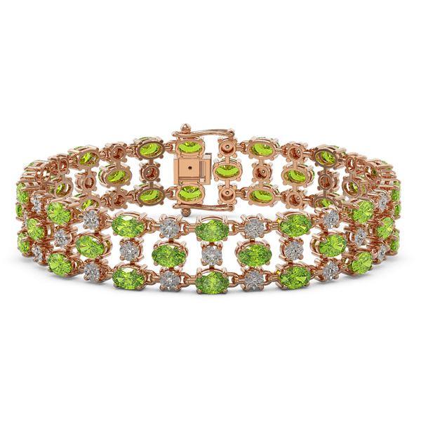 15.64 ctw Peridot & Diamond Row Bracelet 10K Rose Gold - REF-209M3G