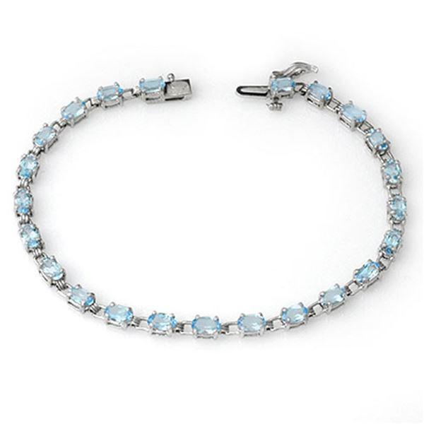 8.08 ctw Blue Topaz Bracelet 10k White Gold - REF-53G5W