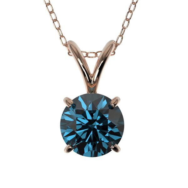 0.73 ctw Certified Intense Blue Diamond Necklace 10k Rose Gold - REF-54W2H