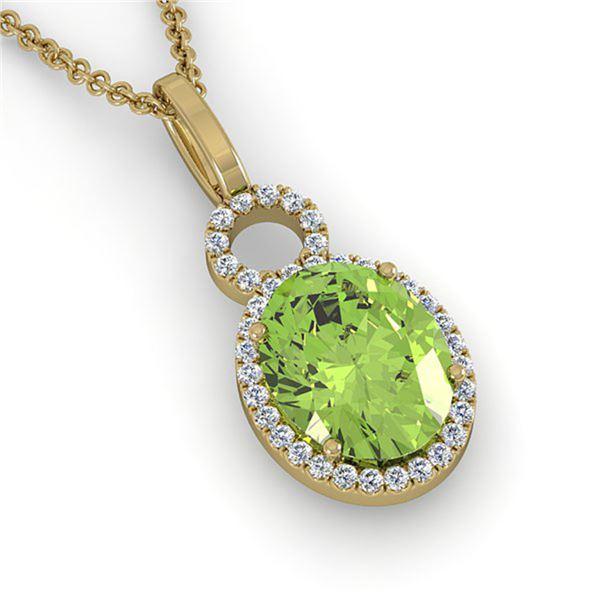 3 ctw Peridot & Micro Pave Halo VS/SI Diamond Necklace 14k Yellow Gold - REF-41N6F