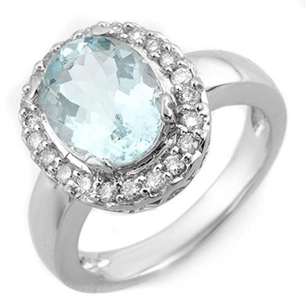3.40 ctw Aquamarine & Diamond Ring 10k White Gold - REF-44G5W