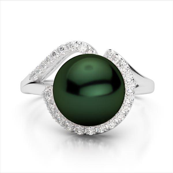 0.27 ctw VS/SI Diamond & Peacock Pearl Ring 18k White Gold - REF-39A3N