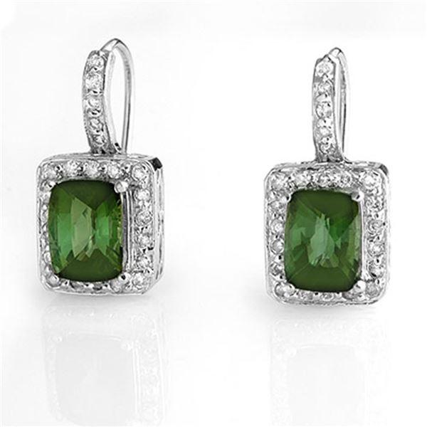 3.50 ctw Green Tourmaline & Diamond Earrings 14k White Gold - REF-81Y8X
