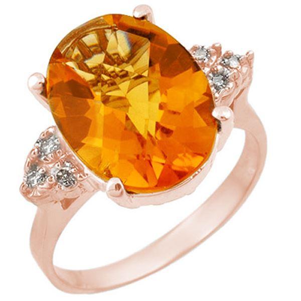 5.10 ctw Citrine & Diamond Ring 10k Rose Gold - REF-26A8N