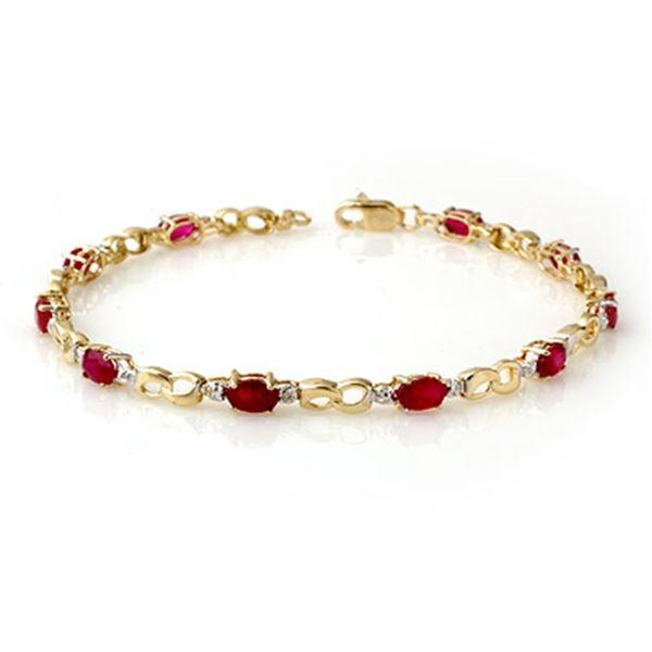 3.76 ctw Ruby & Diamond Bracelet 10k Yellow Gold - REF-32F8M