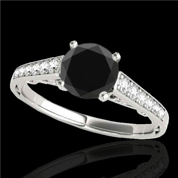 1.35 ctw Certified VS Black Diamond Solitaire Ring 10k White Gold - REF-39A8N