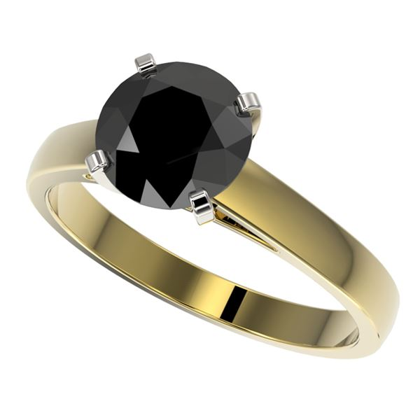 2.15 ctw Fancy Black Diamond Solitaire Engagment Ring 10k Yellow Gold - REF-43N2F