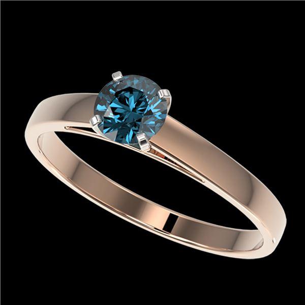 0.54 ctw Certified Intense Blue Diamond Engagment Ring 10k Rose Gold - REF-41H2R