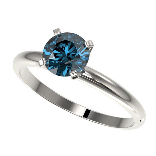 1.02 ctw Certified Intense Blue Diamond Engagment Ring 10k White Gold - REF-92M2G
