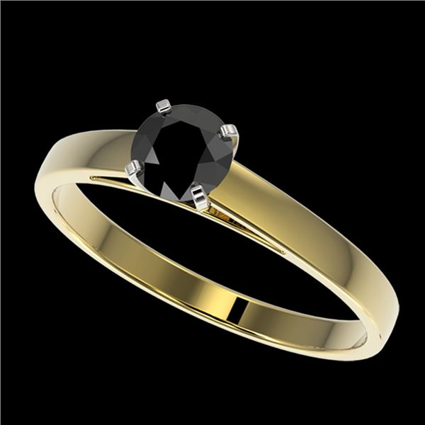 0.50 ctw Fancy Black Diamond Solitaire Engagment Ring 10k Yellow Gold - REF-15W6H