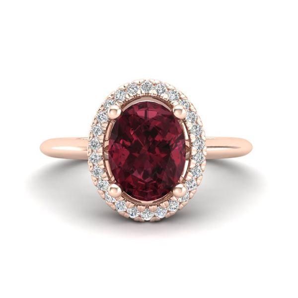 1.75 ctw Garnet & Micro Pave VS/SI Diamond Ring Halo 14k Rose Gold - REF-30N2F