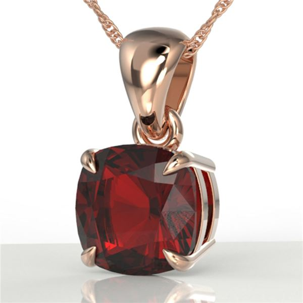 1.50 Cushion Cut ctw Garnet Designer Solitaire Necklace 14k Rose Gold - REF-15X2A