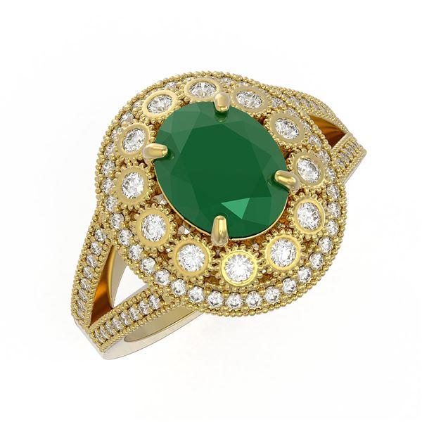 4.55 ctw Certified Emerald & Diamond Victorian Ring 14K Yellow Gold - REF-143H6R