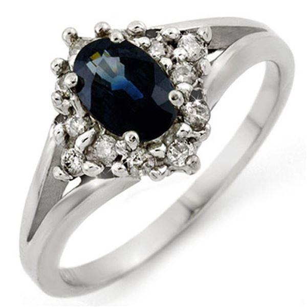 1.05 ctw Blue Sapphire & Diamond Ring 18k White Gold - REF-35A3N