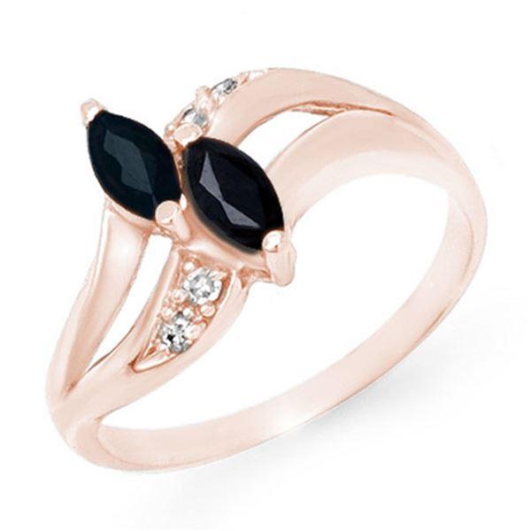 0.74 ctw Blue Sapphire & Diamond Ring 10k Rose Gold - REF-13Y6X