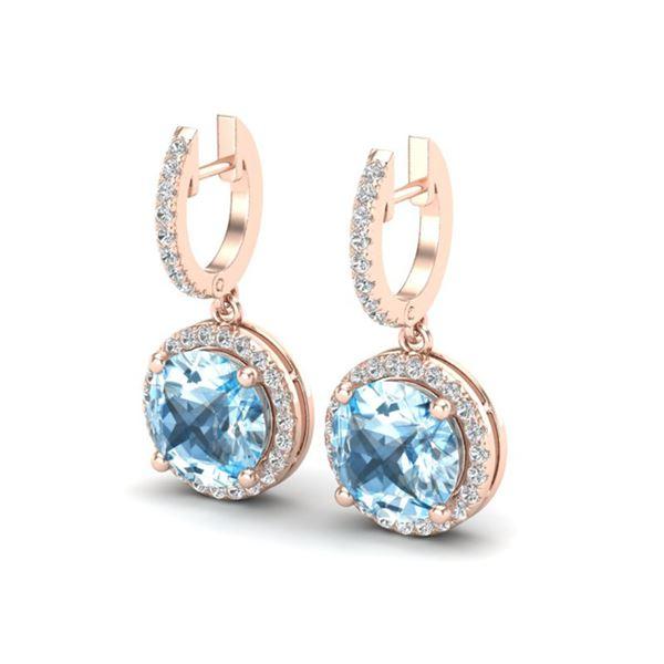 5.50 ctw Sky Blue Topaz & Micro Pave VS/SI Diamond 14k Rose Gold - REF-55G2W