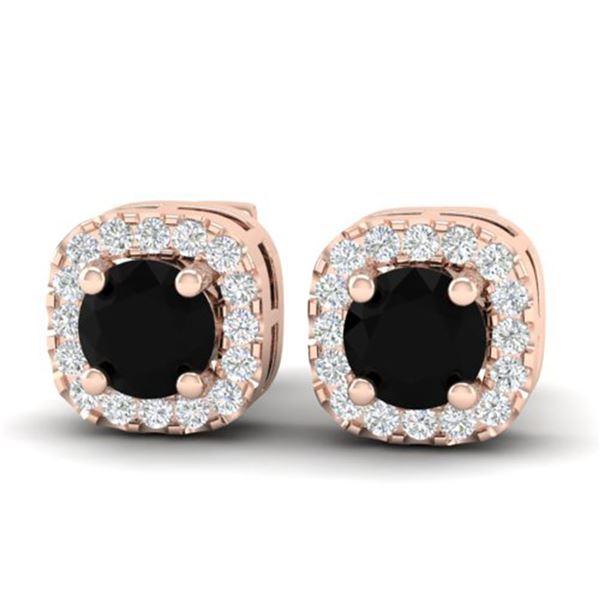 0.90 ctw Micro Pave Black & VS/SI Diamond Earrings 14k Rose Gold - REF-40Y9X