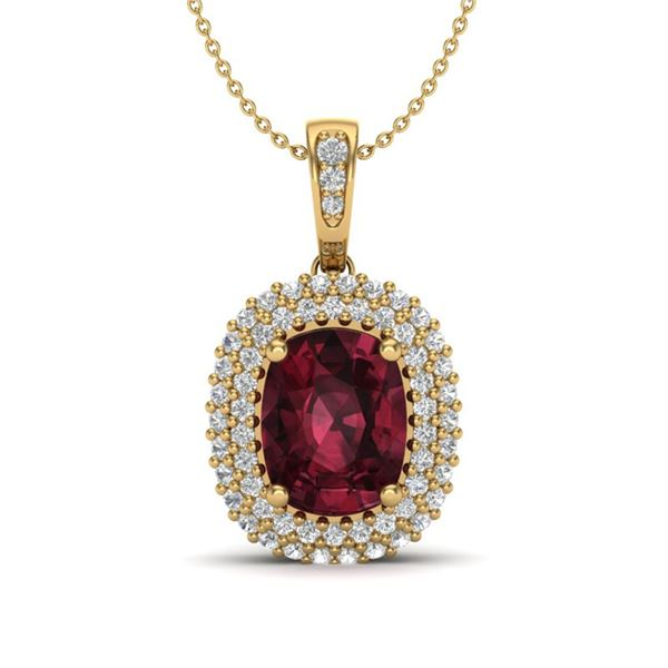 2.60 ctw Garnet & Micro Pave VS/SI Diamond Necklace 10k Yellow Gold - REF-50G8W