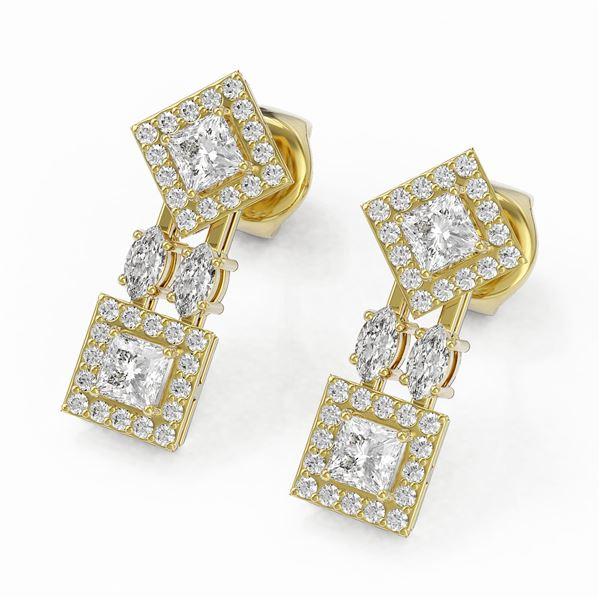 2.16 ctw Princess & Marquise Cut Diamond Earrings 18K Yellow Gold - REF-267X6A