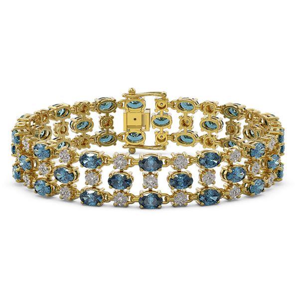 25.07 ctw London Topaz & Diamond Bracelet 10K Yellow Gold - REF-227Y3X