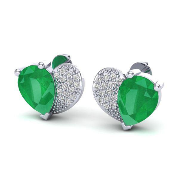 2.50 ctw Emerald & Micro Pave VS/SI Diamond Earrings 10k White Gold - REF-25Y9X