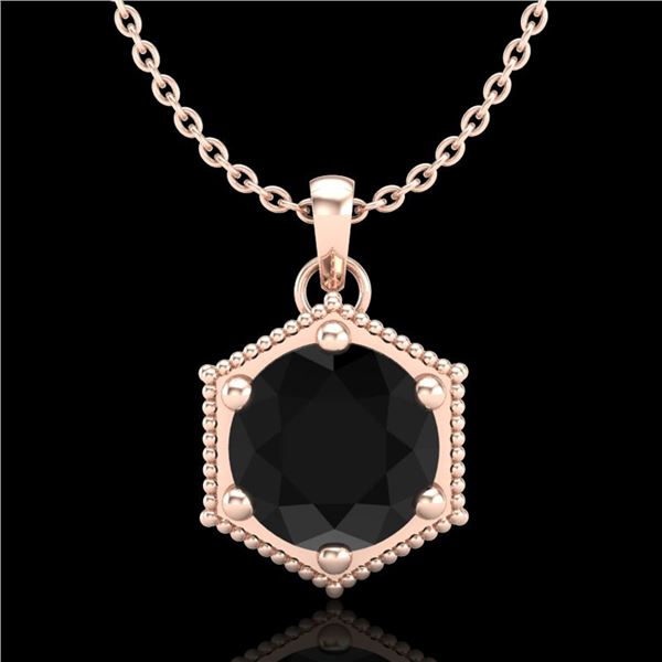0.82 ctw Fancy Black Diamond Art Deco Stud Necklace 18k Rose Gold - REF-42M3G