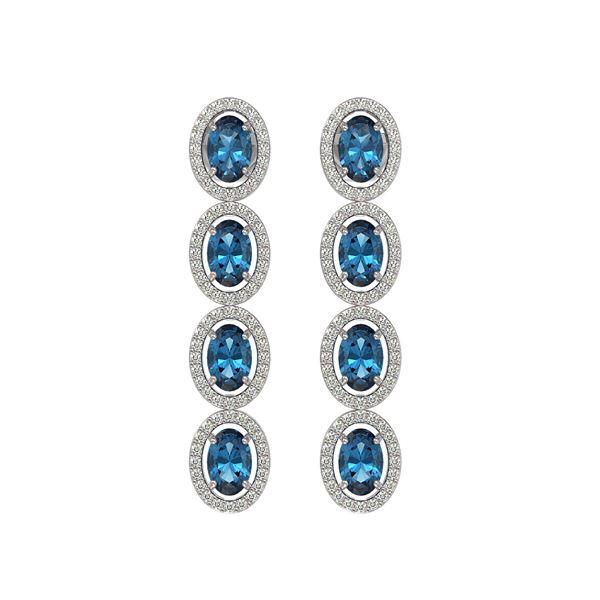 6.28 ctw London Topaz & Diamond Micro Pave Halo Earrings 10k White Gold - REF-143F6M