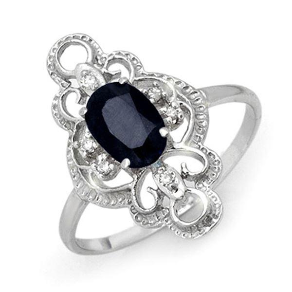 1.10 ctw Blue Sapphire & Diamond Ring 18k White Gold - REF-25R3K