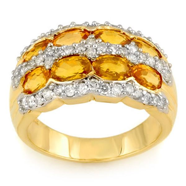 3.75 ctw Yellow Sapphire & Diamond Ring 14k Yellow Gold - REF-105N5F