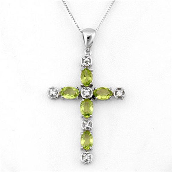 2.15 ctw Peridot & Diamond Necklace 10k White Gold - REF-25W2H