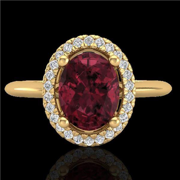 1.75 ctw Garnet & Micro Pave VS/SI Diamond Ring Halo 18k Yellow Gold - REF-32R8K