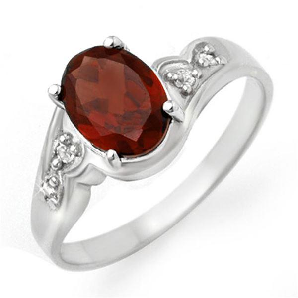 1.26 ctw Garnet & Diamond Ring 18k White Gold - REF-23H6R