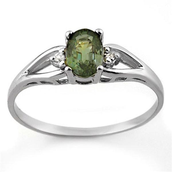 0.77 ctw Green Tourmaline & Diamond Ring 10k White Gold - REF-12F3M