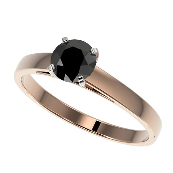 0.75 ctw Fancy Black Diamond Solitaire Engagment Ring 10k Rose Gold - REF-23X3A