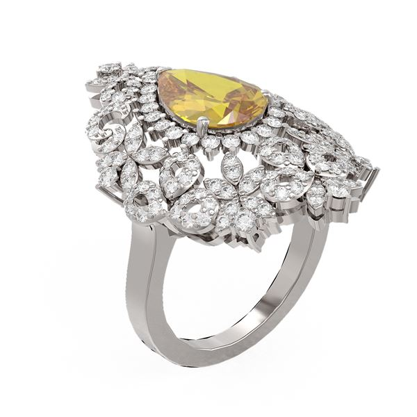 4.97 ctw Canary Citrine & Diamond Ring 18K White Gold - REF-214M8G