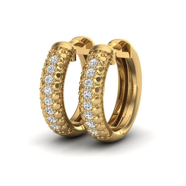 0.15 ctw Micro Pave Hoop VS/SI Diamond Certified Earrings 10k Yellow Gold - REF-19Y5X