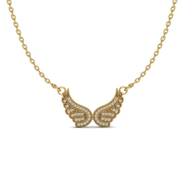 0.40 ctw Micro Pave VS/SI Diamond ANGEL WING Necklace 14k Yellow Gold - REF-29R2K