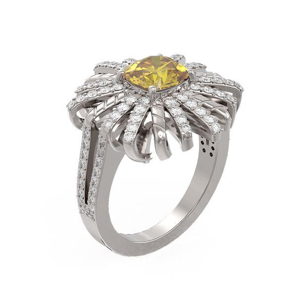 2.63 ctw Canary Citrine & Diamond Ring 18K White Gold - REF-159R8K