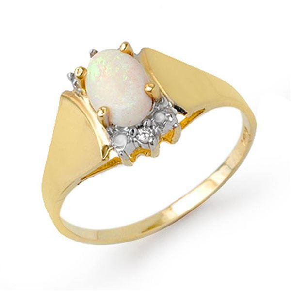 0.53 ctw Opal & Diamond Ring 10k Yellow Gold - REF-12K4Y