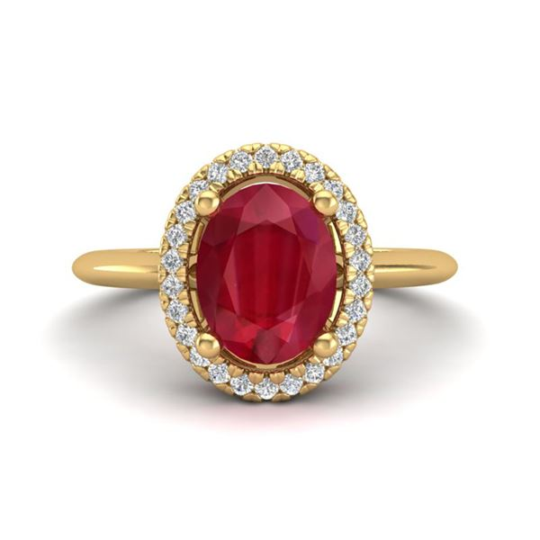 2 ctw Ruby & Micro Pave VS/SI Diamond Ring Halo 18k Yellow Gold - REF-40H9R