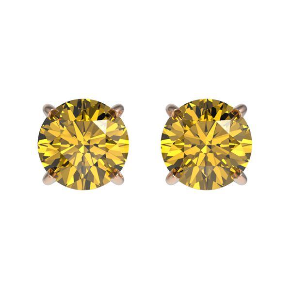 1 ctw Certified Intense Yellow Diamond Stud Earrings 10k Rose Gold - REF-95G3W