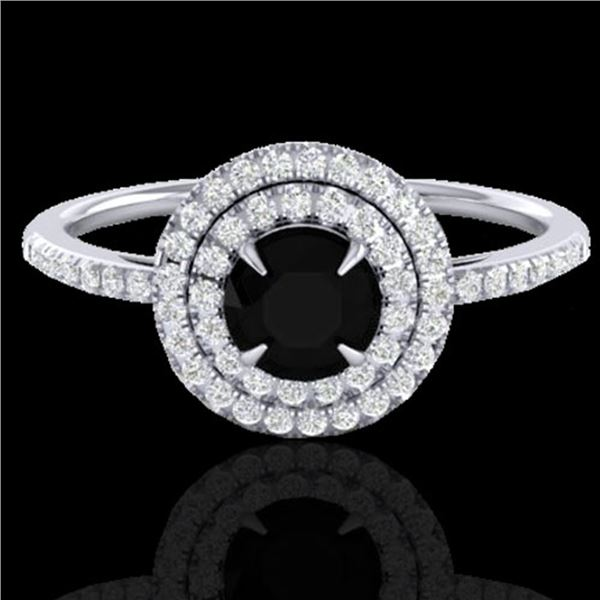 1 ctw Micro Pave VS/SI Diamond Solitaire Ring Halo 18k White Gold - REF-54W8H