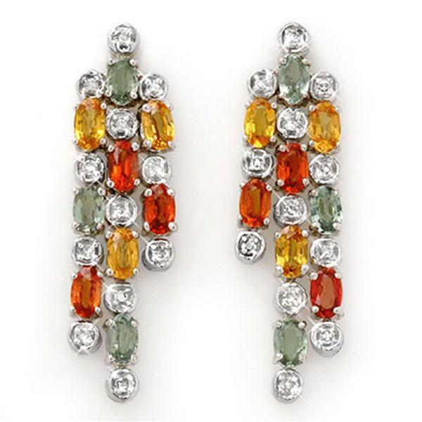 4.33 ctw Multi-Sapphire & Diamond Earrings 14k White Gold - REF-89W3H