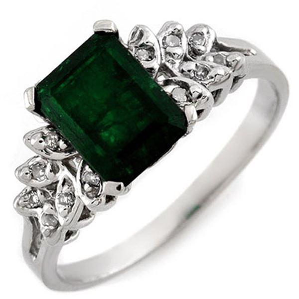 2.12 ctw Emerald & Diamond Ring 10k White Gold - REF-15H5R